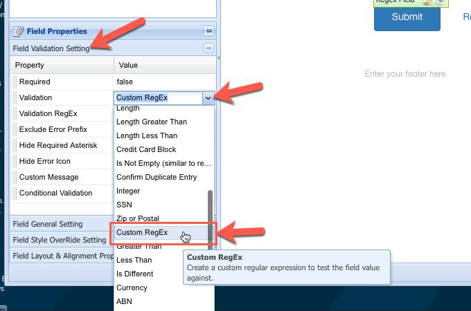 Custom Regular Expressions List Logiforms Help Center